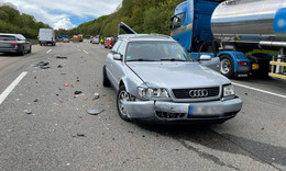 Im Bereich eines Rückstaus: Erneuter Crash auf der A7 - Sachschaden